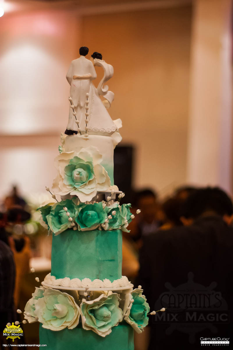 Floral Aqua Wedding Tower Cake