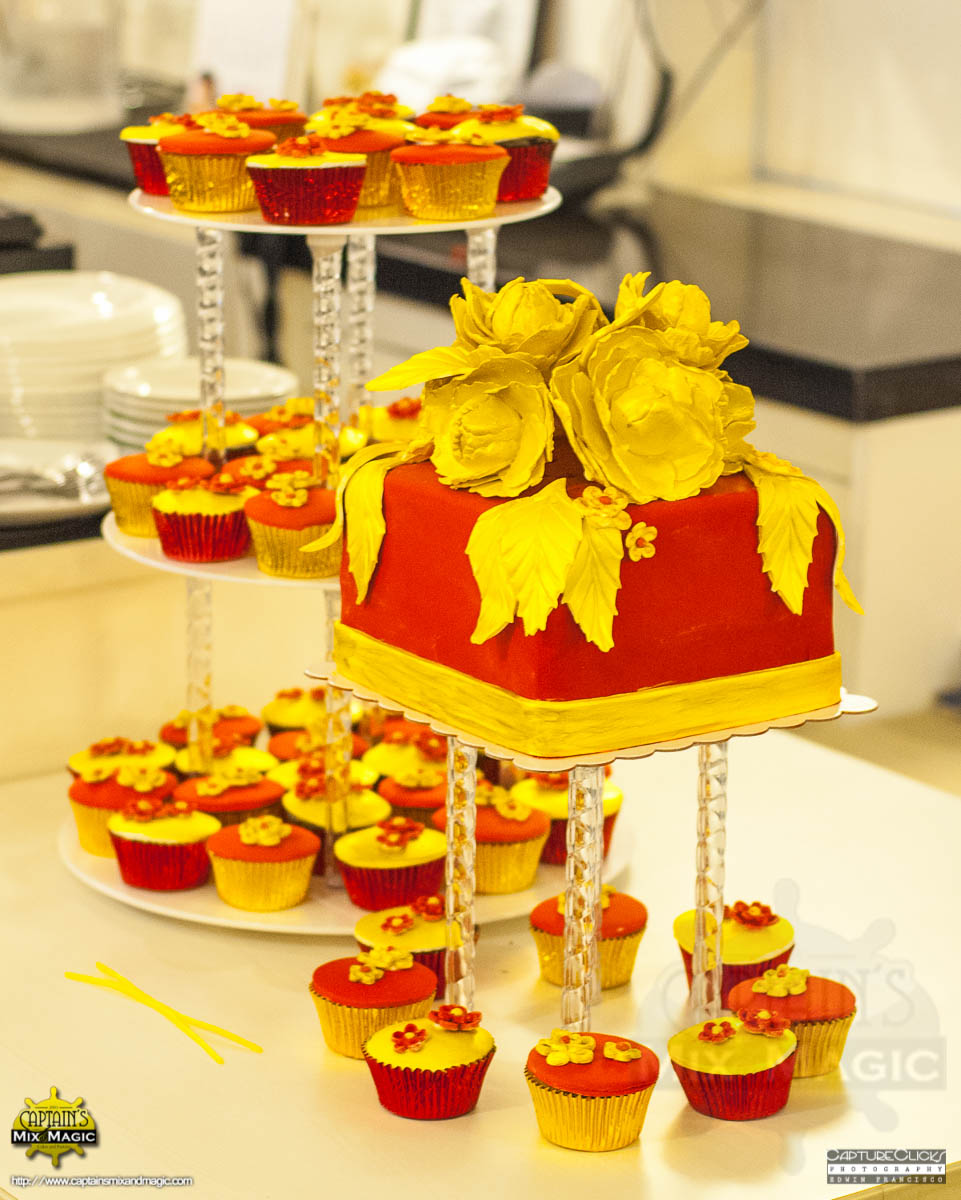 Golden Peonies on a Box and Cupcakes