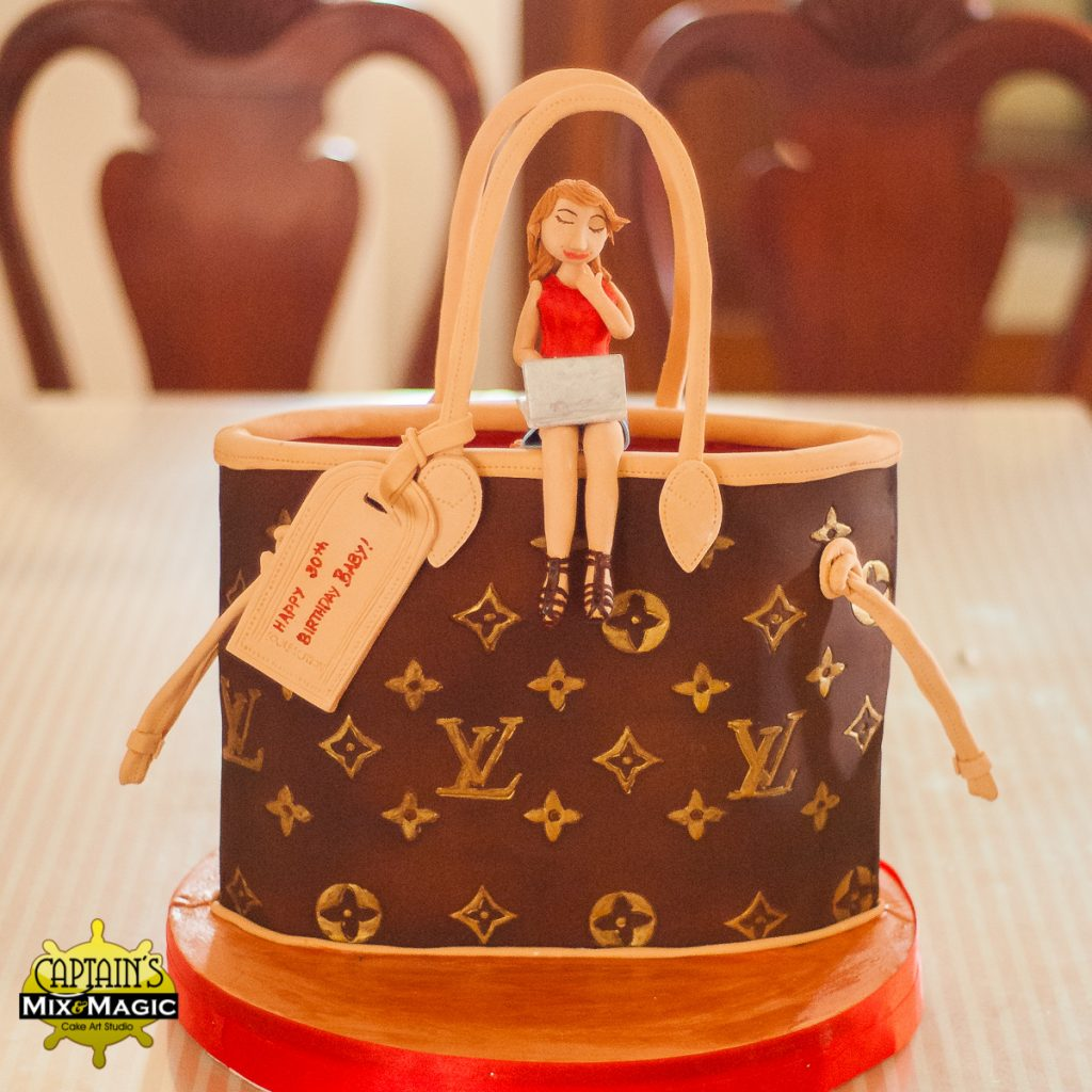 Woman Sitting on a LV Bag